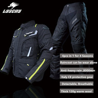 LYSCHY Motorcycle Protection Motocross CE Protective Gear Men Breathable Motorcycle Jackets Chaquetas Moto Warm Wool Waterproof