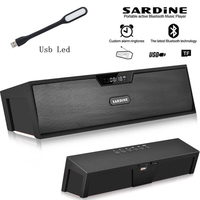 Sardine HIFI Black portable wireless bluetooth Speaker Stereo soundbar FM Aux radio subwoofer column for computer