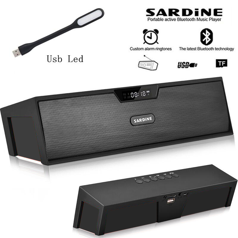 Sardine HIFI Black tragbarer, drahtloser Bluetooth-Lautsprecher, Stereo-Soundbar, FM-Aux-Radio-Subwoofer für Computer-MP3-Player