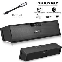 Сардины HiFi черный Портативный беспроводной Bluetooth Динамик, стерео Саундбар fm AUX радио колонки сабвуфер для компьютера MP3 плеер
