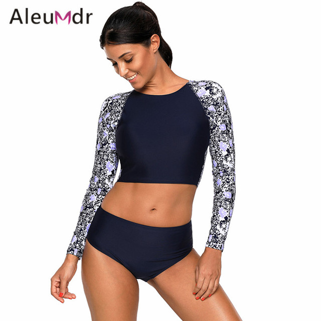 117cc68515 Aleumdr Swimwear Women Bikini Set 2018 Long Sleeve Print Backless Crop Top  With Women Swimsuit Bottoms