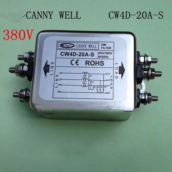 CW4D-20A-S  high quality Electrical Filter 380V 20A three-phase AC power supply filter Electrical Equipment f01979 20 20x cw