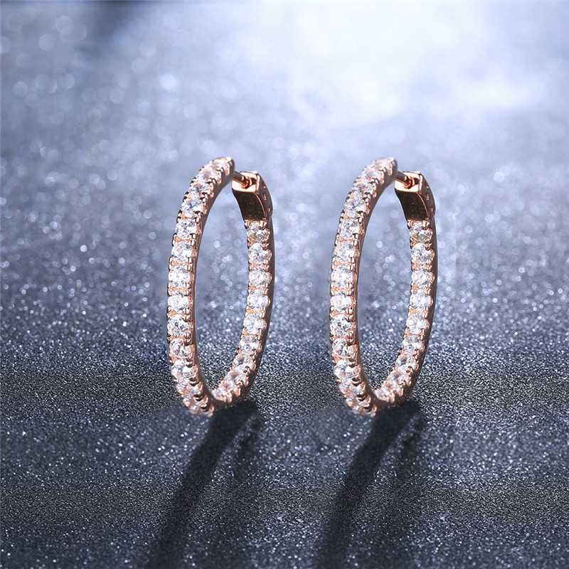 Romad Fashion Earring Jewelry for Women Silver/Gold-Color Hoop Earring with Full Stone CZ Zircon Crystal Loop Wedding Earing Z3 цена 2017