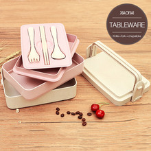 Wheat Straw Lunch-box Bento Box Student Multi-storey Lunch Box Sushi Box Food Container Lunchbox Kitchen Accessories dinnerware(China)