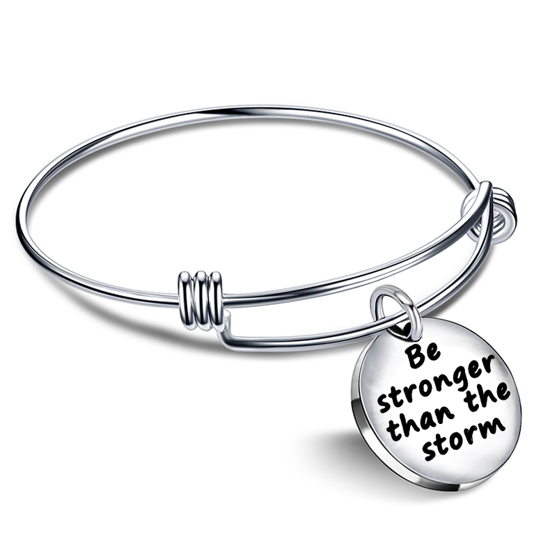 Xiaojingling Charm Bracelets With Meaning Fashion Adjule Bangle Be Stronger Than The Storm Bangles Women Jewelry