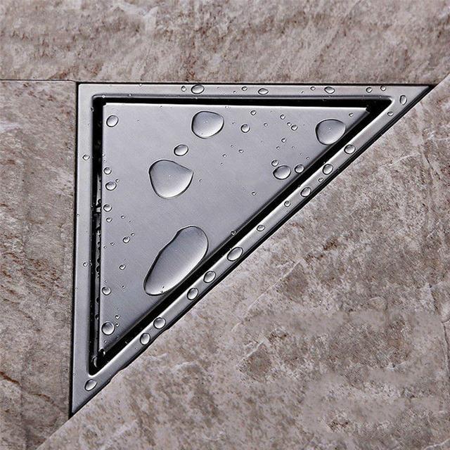 Aodeyi Hidden Type Triangle Tile Insert Floor Waste Grates Shower Drain 232mm 117mm 304 Stainless Steel Drain11 184