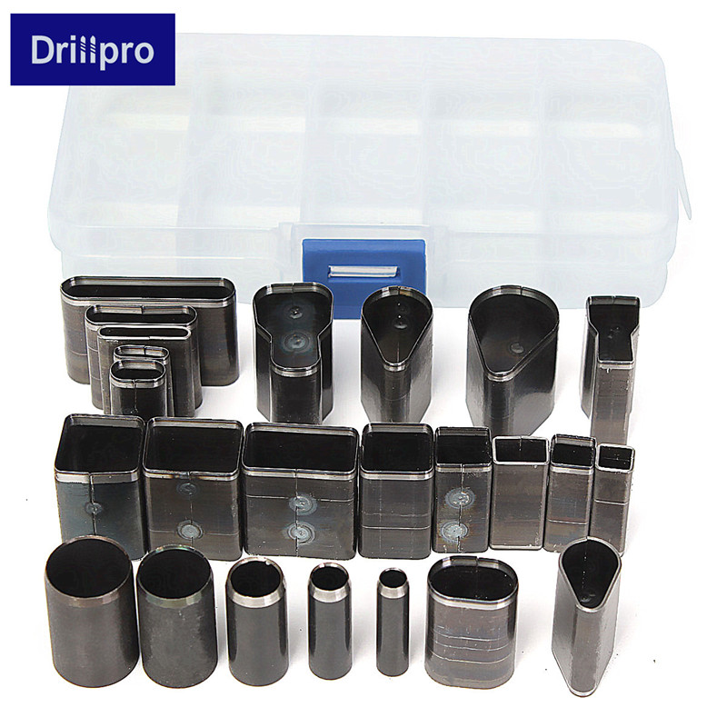Drillpro 24 Shape Style Hole Hollow Cutter Punch Set For Handmade Leather Craft DIY Tool Best Price