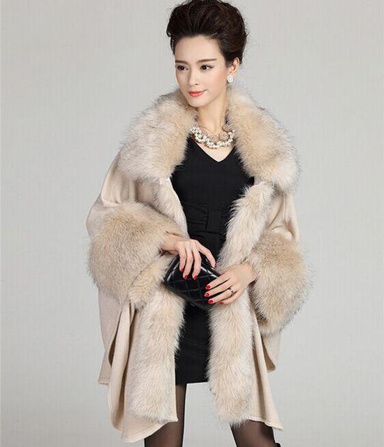 2015 новый лисий мех воротника шуба платок женщин теплая зима шерстяной свитер шаль большой размер меха мыс бесплатная доставка