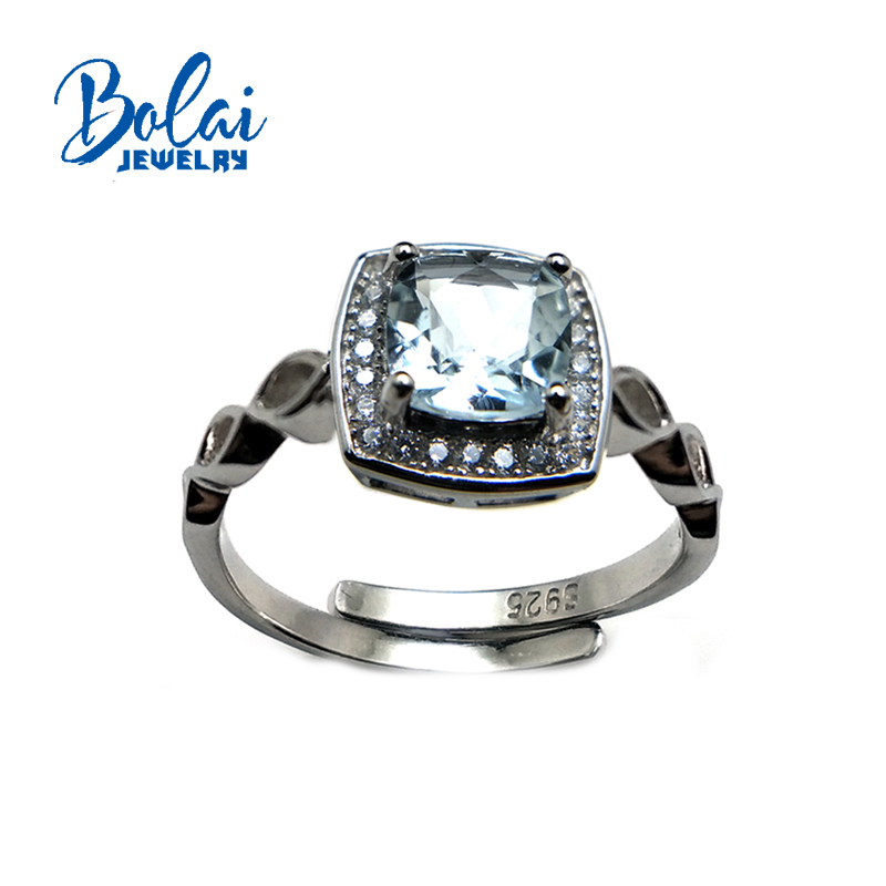 Bolaijewelry,simple style natural aquamarine gemstone light color cu6.0mm ring 925 sterling silver fine jewelry for women gift