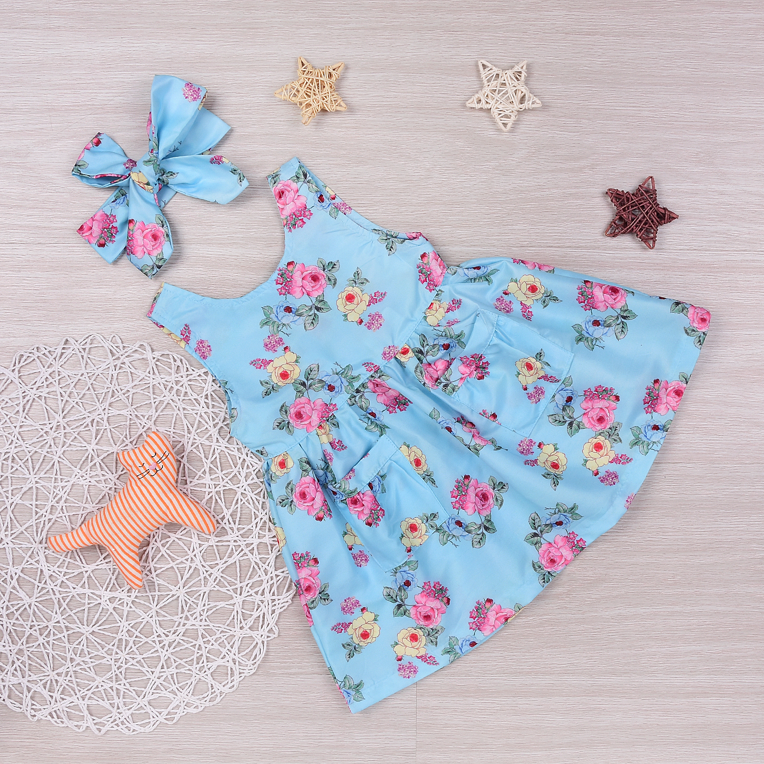 Girls Sleeveless Print Ruched Dress Floral Kids Baby Girls Princess ...