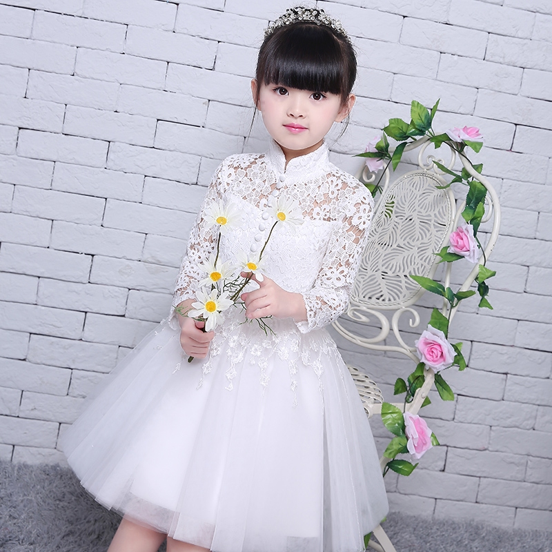 ФОТО 2017 Hot-sales Elegant Long Wedding PrincessDress for Girls Solid White Princess Children Ball Gown Dresses Kids Formal Clothing