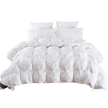 White/Blue/Pink/Brown Goose Down Duvet Blanket King Queen Twin Size Luxury Winter Blanket Comforter Filler for Beds