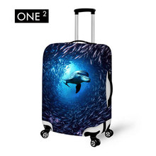 Animal Swimmer in Ocean Picture Printing in Luggage Cover Accompany with Your Travel Suitable 24 inches Suitcase