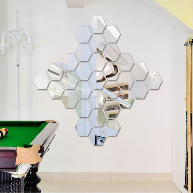Buy 12pcs acrylic silver 3d hexagonal for Home decor items on sale