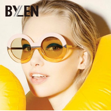 ec4ff22ae4 BYLEN 2018 Brand Round Sunglasses Women Oversized Arrow Sun Glasses Female  Brand Designer Circle Mirror Eyeglasses