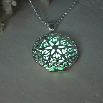 Glow In The Dark Moon Necklace  Round Hollow Pendant Necklace Luminous Necklace Silver Chain Luminous Jewelry Women Gifts