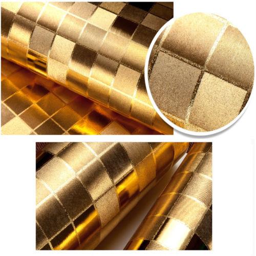 Q QIHANG 10m Modern Luxury Gold Foil Big Sequins Mosaic Background Flicker Wallpaper 5.3m2