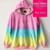 Harajuku tie dyeing Fashion Gradient Color Tie dyed Harajuku Hoodies Sweatshirt Women Rainbow Sweat Suits AW432