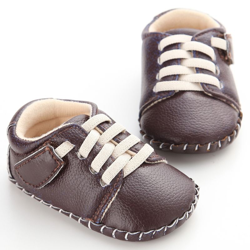 Spring Autumn Soft Solid Color First Walkers Baby Casual PU Leather Lace-Up Shallow Shoes Non-Slip Infant Frist Walkers