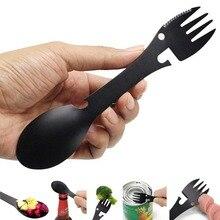 Multifunción cuchillo de Camping tenedor cuchara de Picnic Gadget utensilio cuchillo cuchara tenedor botella abridor 5 en 1 Acero inoxidable deportivo