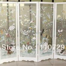 Европейский стиль ручная роспись Прозрачный шелк ручная роспись деревья цветок с птицей для экрана без рамки много фотографий на выбор
