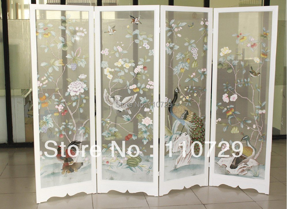 European style hand-painted transparent silk hand painted trees flower with bird for screen without frame many pictures optional