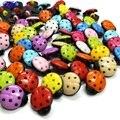 HL 30pcs Mix Colors 15mmx12mm Beetle Shank Plastic Buttons Kid's Garment Sewing Accessories DIY Scrapbookings