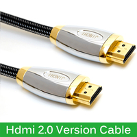 High End Crystal Mesh Hdmi 2 0 Version Cable Gold HDMI Cable For Projector HD LCD
