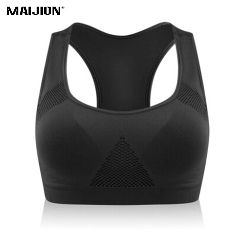 c73cd7c8fc MAIJION Women Breathable Mesh Sports Bras Shockproof Padded Athletic ...
