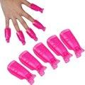 5Pcs/set  Plastic Nail Art Soak Off Cap Clip UV Gel Polish Remover Wrap DIY Tools Rose Red