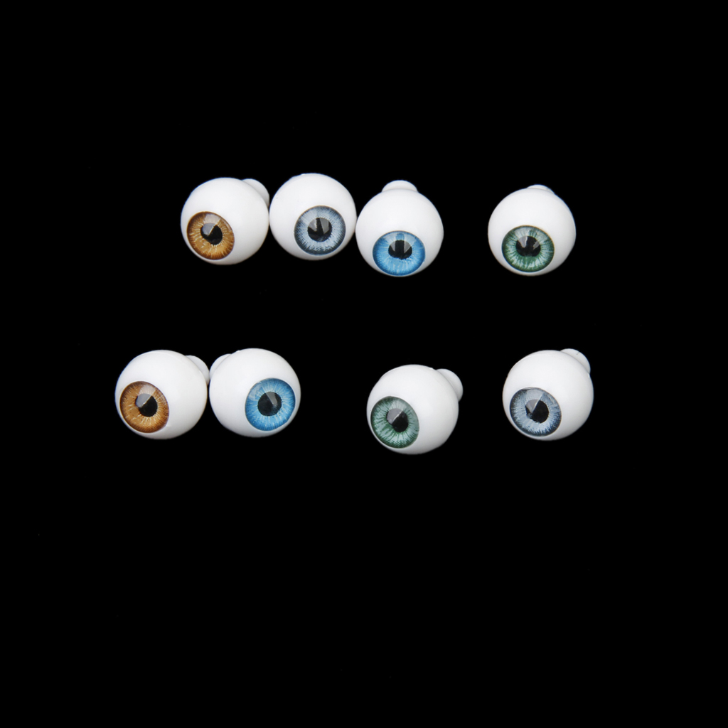4 Pairs Round Acrylic Doll Eyes Eyeballs 8mm Multicolor Eye Activities Moving Eyeball Plastic Eyes Scrapbook Doll Accessories