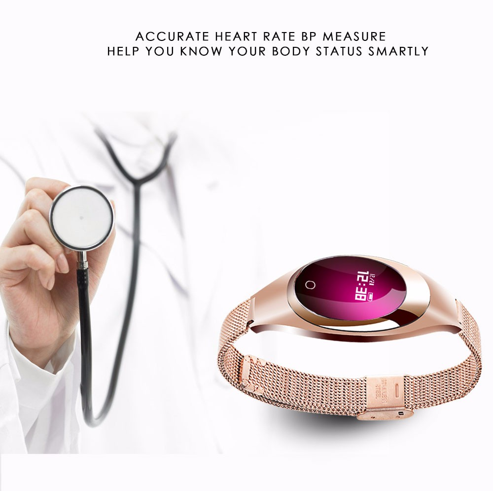 FROMPRO Women Fashion Band Z18 Smart bracelet Blood Pressure Heart Rate Monitor Pedometer Fitness Tracker Watch FOR Android IOS
