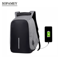 SOPAMEY USB Charge Anti Theft Backpack Men Travel Security Waterproof School Bags College Teenage Male 15inch