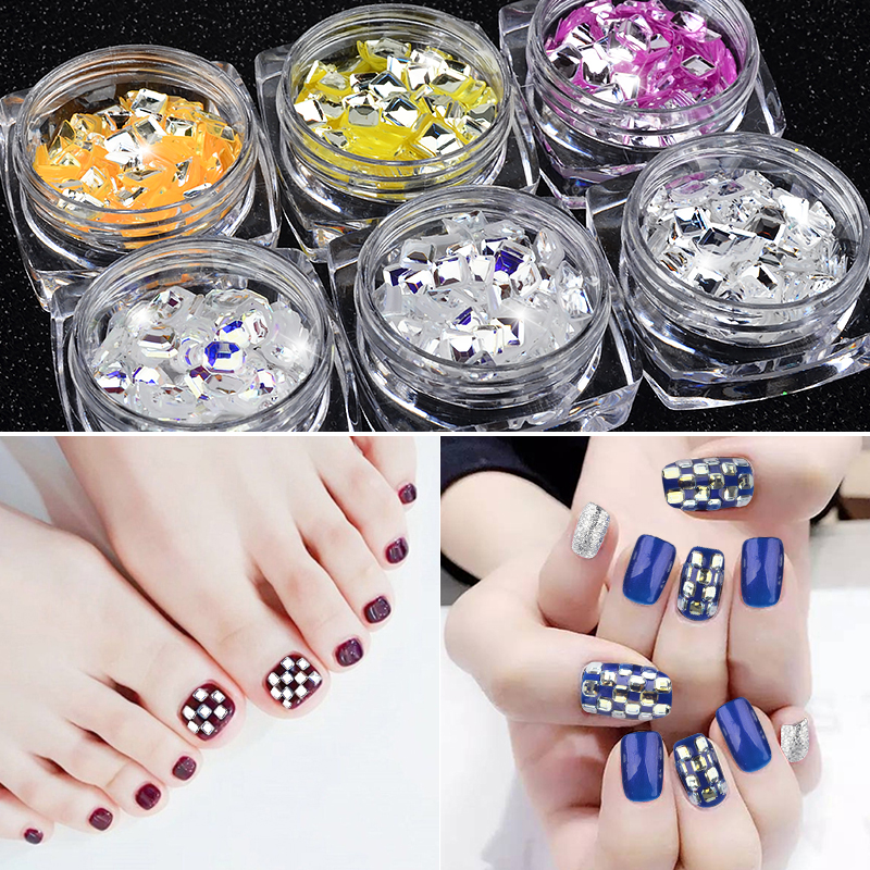 1 Box Shiny Square Laser Mirror Silver Ultrathin Sequins Colorful Bottom Nail Art Glitter Flakes Uv Gel Diy Decorations In From Beauty