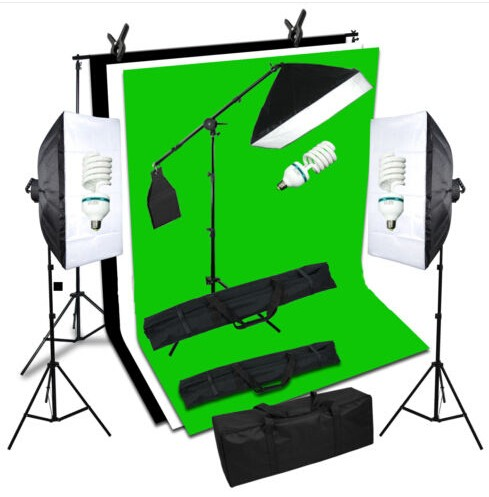 Photography Studio Set:Backdrops(Green,Black,White)&background support&softboxes&Studio Light Stand&Carry bags photography photo video continuous lighting kit 2x3m background support light stand with green black white 2x3 muslin backdrops