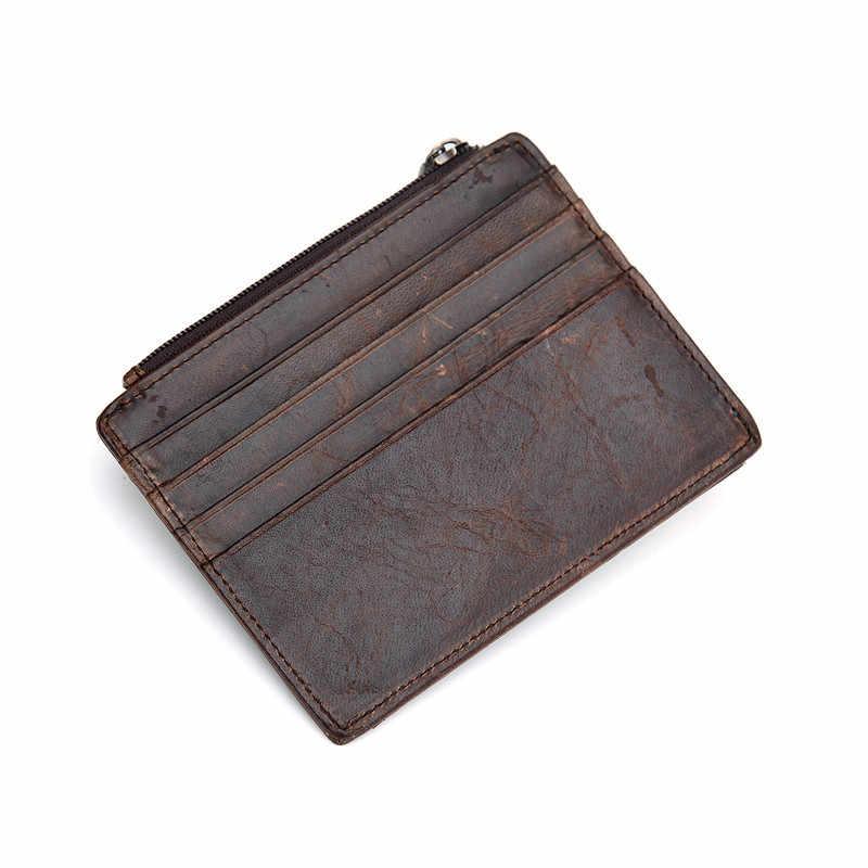 Nesitu rocznika brązowy proste mężczyźni posiadacz karty kredytowej kobiety prawdziwej skóry Slim Mini portfele z saszetką na monety kieszeń przednia kieszeń # M030