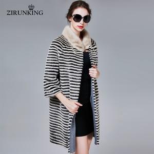 Image 2 - ZIRUNKING קלאסי אמיתי מינק פרווה מעיל נשי ארוך טבעי סרוג פס Parka סתיו חם Slim Shuba אופנה בגדי ZC1706