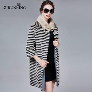 Image 2 - ZIRUNKING abrigo de piel auténtica de visón clásico para mujer, Parka larga de punto Natural a rayas, Otoño, cálido y delgado, ropa de moda, ZC1706