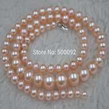 Stunning 4-8.5mm pink cultured Pearl necklace free shipping