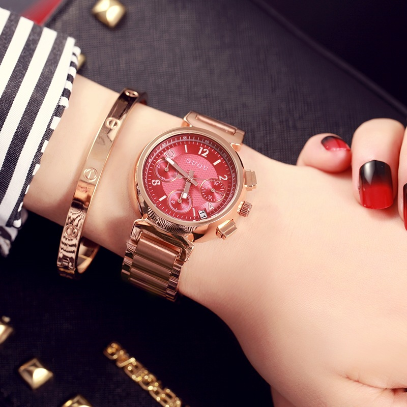 GUOU Women Watch Fashion Luxury Rose Gold Watch Top Brand Famous Quartz Watch Female Clock Relogio Feminino Date Display fashion women calendar rose gold quartz watch luxury brand guou six pin retro big dial female multifunction waterproof clock