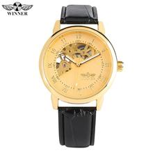 Luxury Golden Hand-wind Mechanical Watch for Men Silver Stainless Steel Case Watch for Ladies Leather Strap Mechanical Watches