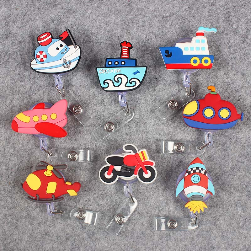 Creative Airplane Autocar Clown Retractable Badge Card Holder Reel Nurse Exhibition Enfermera Name Motorcycle BigShip Card Chest