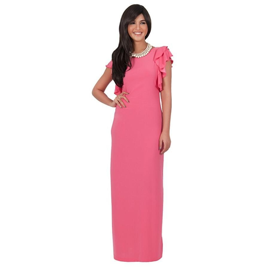 FD7036 Lady Spring Short Ruffle Sleeve Maxi Dresses Vestidos Robe Round Neckline Solid Color Plus size Floor Length Dress Cloth