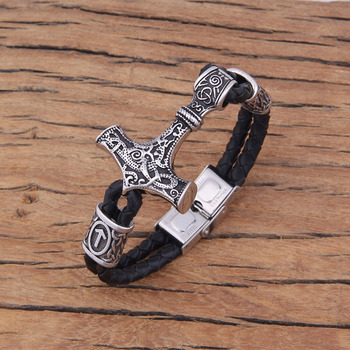 Viking Thor'S Hammer Leather Bracelet with Rune Beads  Viking Bracelet