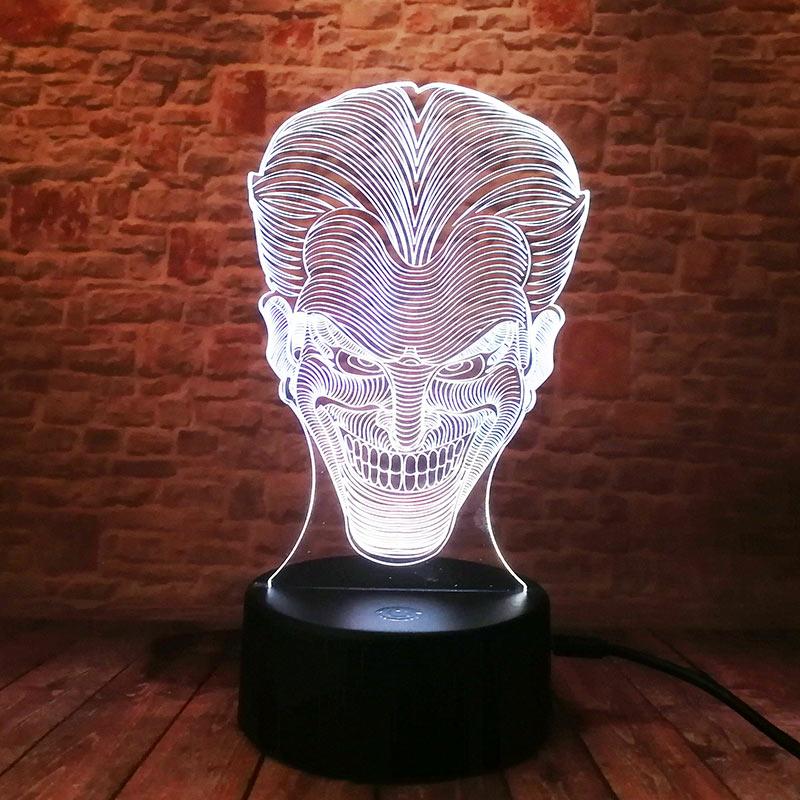 джокер рисунок 3d иллюзия светодиодный лампы красочный мигающий