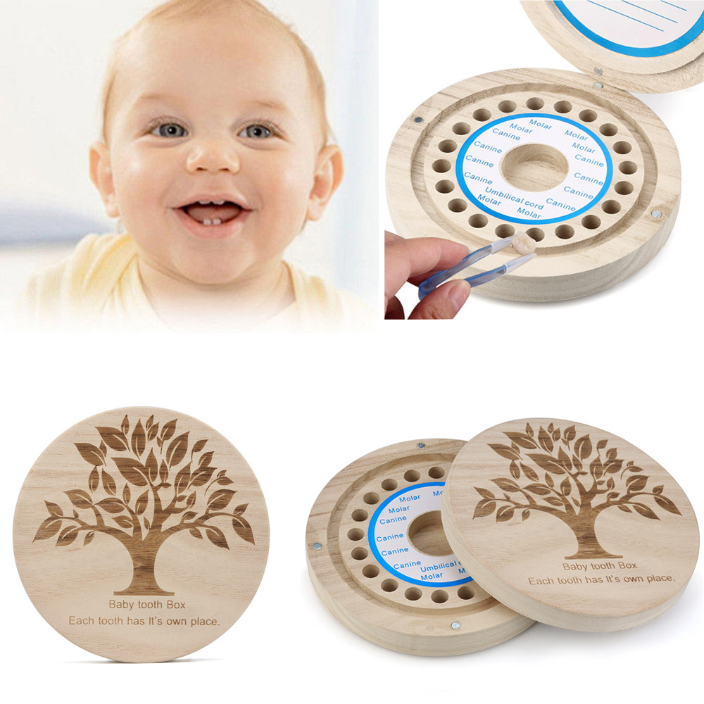 New Arrival Kids Baby Boy Girl Tooth Box Organizer Baby Save Milk Teeth Wood Storage Box Baby Teething Dentes De Leite Organizad