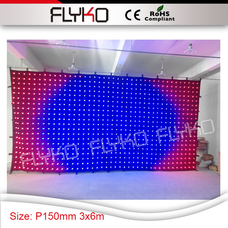 Amazing High Brightness Colorful 3in1 Led Lights 3x6m Ktv Display Screen P15 Motorized Stage Curtains For DJ Event