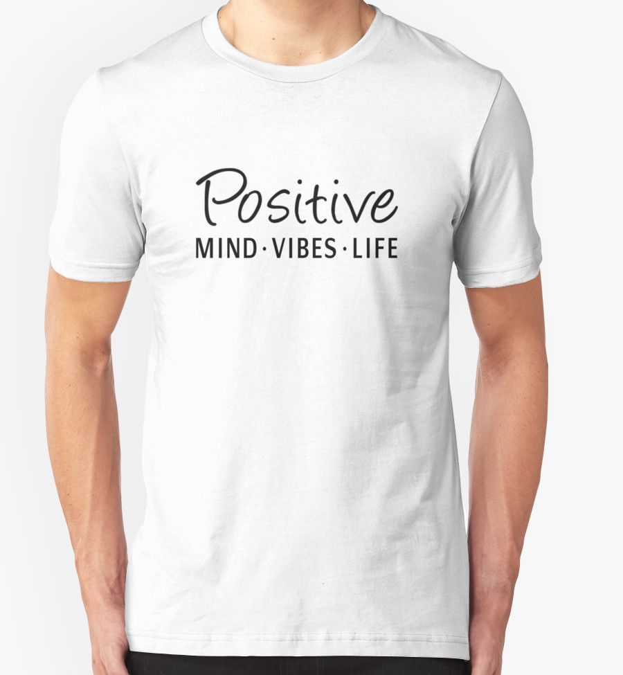 Basic Tops Crew Neck Men New Style Short Sleeve Positive Minds Vibes