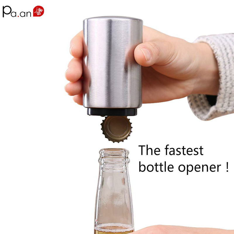 Automatic Beer Opener Fast Bottle Openers Stainless Steel Cap Launcher Lid Favors CapCollctor