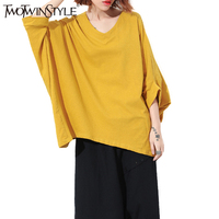 TWOTWINSTYLE Batwing Sleeve Female T Shirt Black Tunic Tops 2017 Summer Women S Tee Shirt Sexy